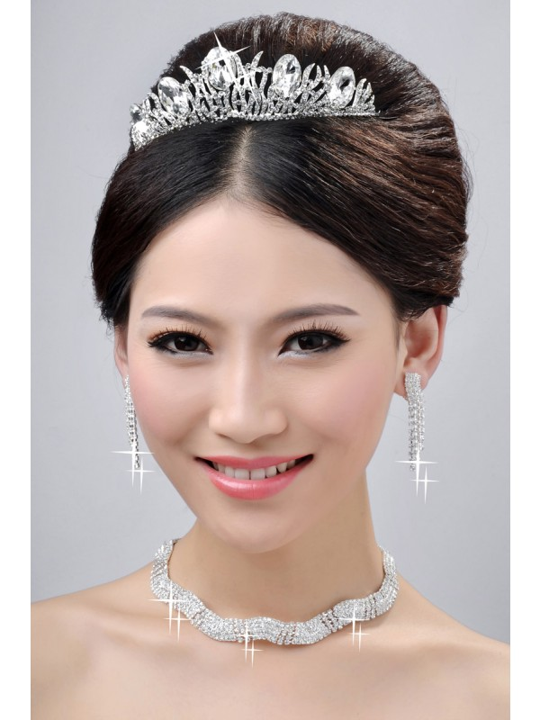 Gorgeous Elegant Wedding Headpieces Necklaces Earrings Set