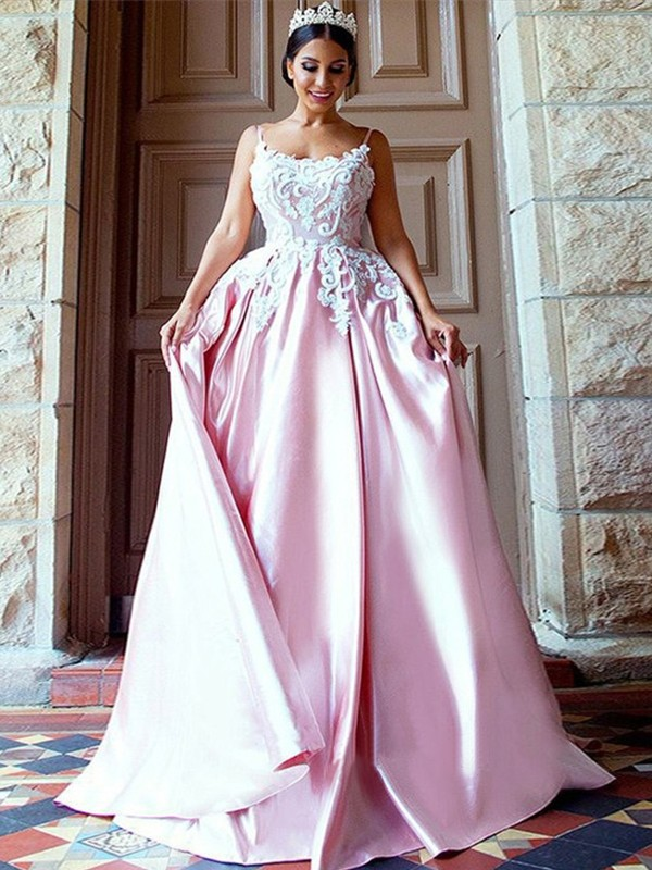 Ball Gown Spaghetti Straps Satin Sleeveless Sweep/Brush Train Dresses