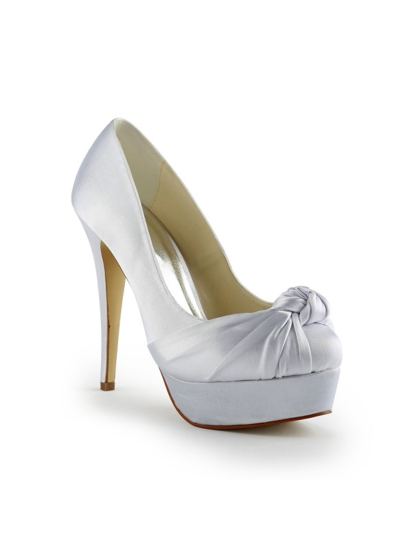The Most Stylish Women's Gorgeous Satin Stiletto Heel Pumps With Ruched White Wedding Shoes
