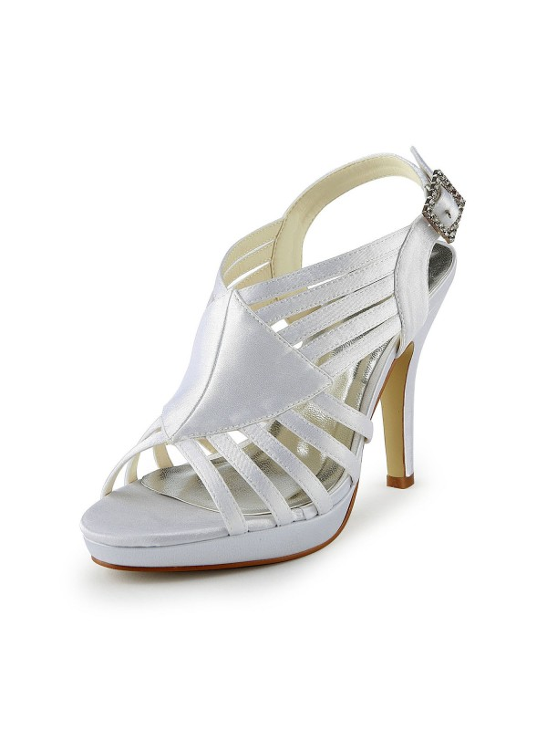 The Most Fashionable Women's Gorgeous Satin Stiletto Heel Sandals With Buckle White Wedding Shoes
