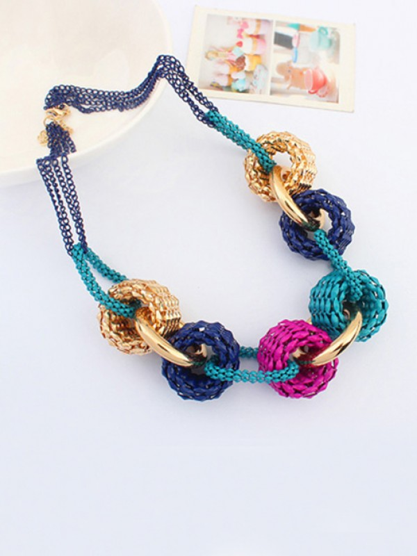 The Most Trendy Occident Retro Metallic Collision color Hot Sale Necklace