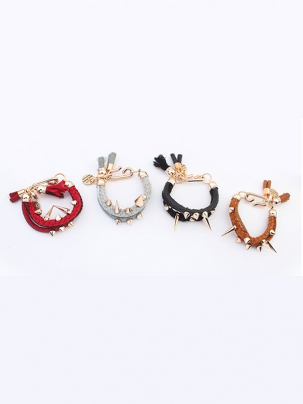 The Most Stylish Occident Hyperbolic Personality Rivet Woven Hot Sale Bracelets