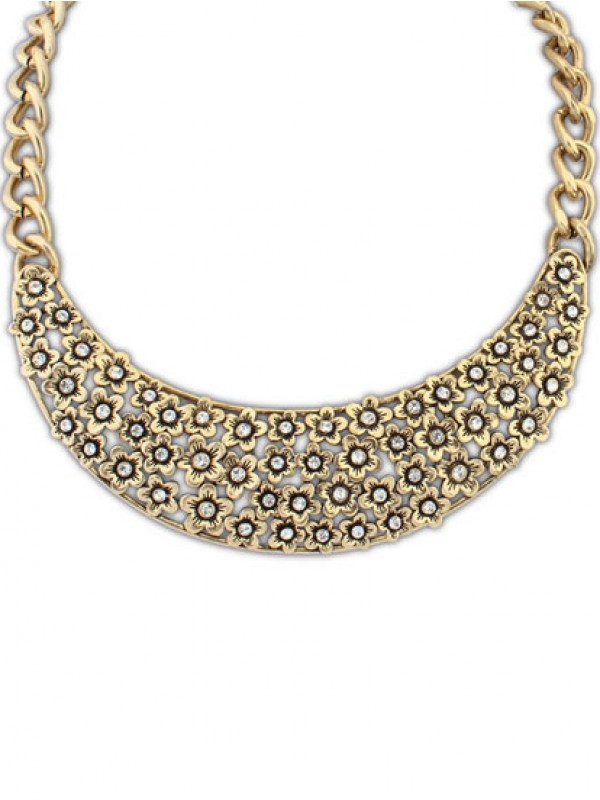The Most Stylish Occident Retro Hollow Plum flower Semi-arc Hot Sale Necklace