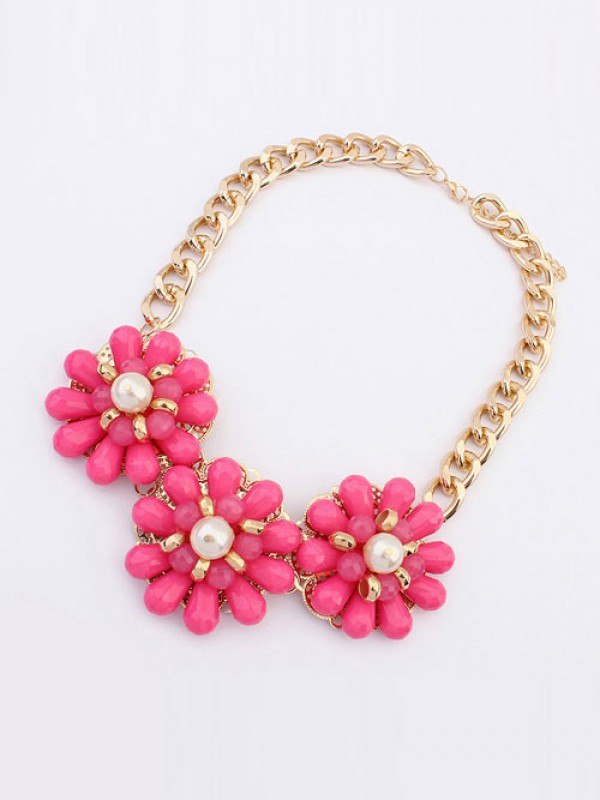 The Most Fashionable Occident Candy colors Fresh Big Flowers Hot Sale Necklace