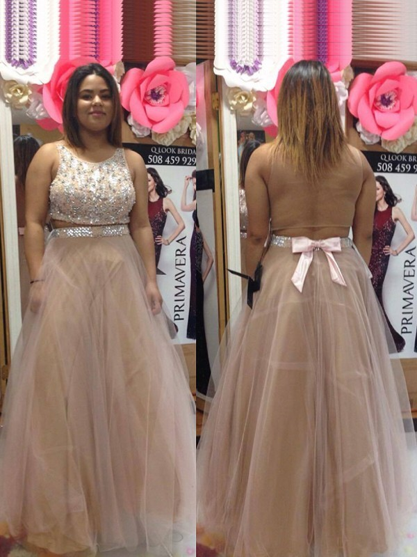 A-Line/Princess Scoop Tulle Sleeveless Floor-Length Plus Size Dresses