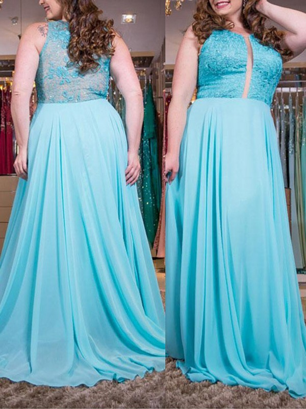 A-Line/Princess Scoop Chiffon Sleeveless Sweep/Brush Train Plus Size Dresses
