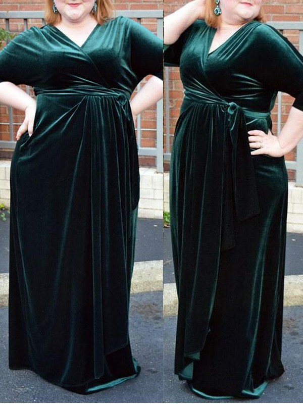 Sheath/Column V-neck Velvet 1/2 Sleeves Floor-Length Plus Size Dresses