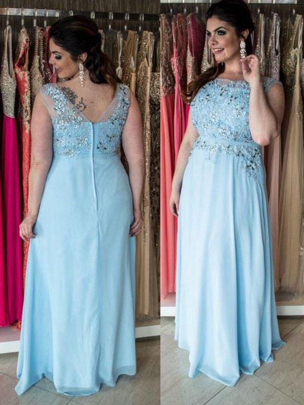A-Line/Princess Bateau Chiffon Sleeveless Floor-Length Plus Size Dresses