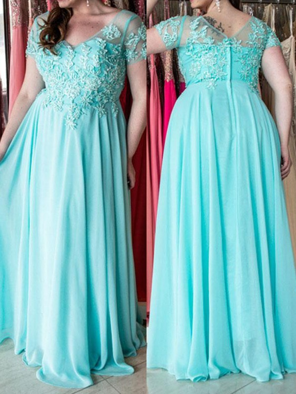 A-Line/Princess Sweetheart Chiffon Short Sleeves Floor-Length Plus Size Dresses
