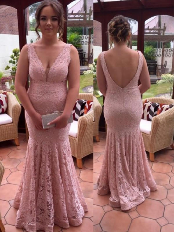 Trumpet/Mermaid V-neck Lace Sleeveless Floor-Length Plus Size Dresses