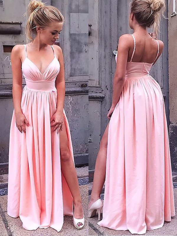 A-Line/Princess Straps Silk like Satin Sleeveless Floor-Length Dresses