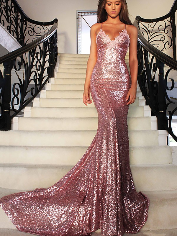 1d209e2600 Trumpet Mermaid V-neck Sequins Sleeveless Sweep Brush Train Dresses