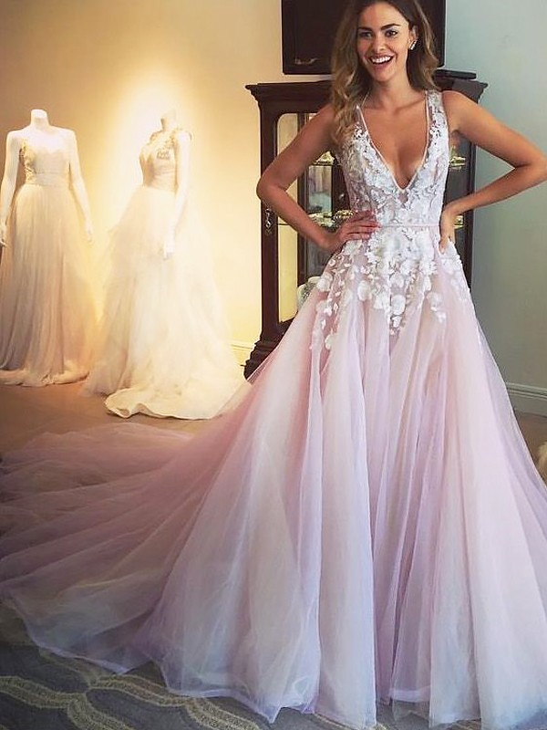 A-Line/Princess V-neck Tulle Sleeveless Sweep/Brush Train Dresses