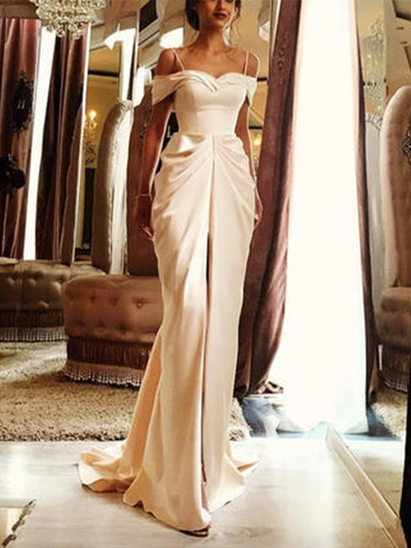 Sheath/Column Off-the-Shoulder Silk like Satin Short Sleeves Sweep/Brush Train Wedding Dresses