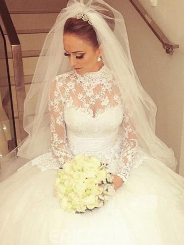 Ball Gown High Neck Lace Long Sleeves Cathedral Train Wedding Dresses