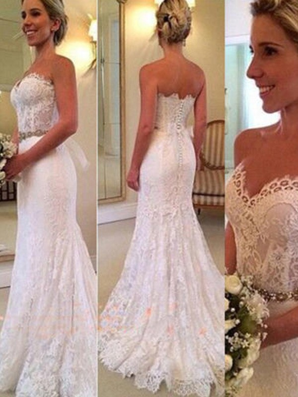 Trumpet/Mermaid Sweetheart Lace Sleeveless Sweep/Brush Train Wedding Dresses