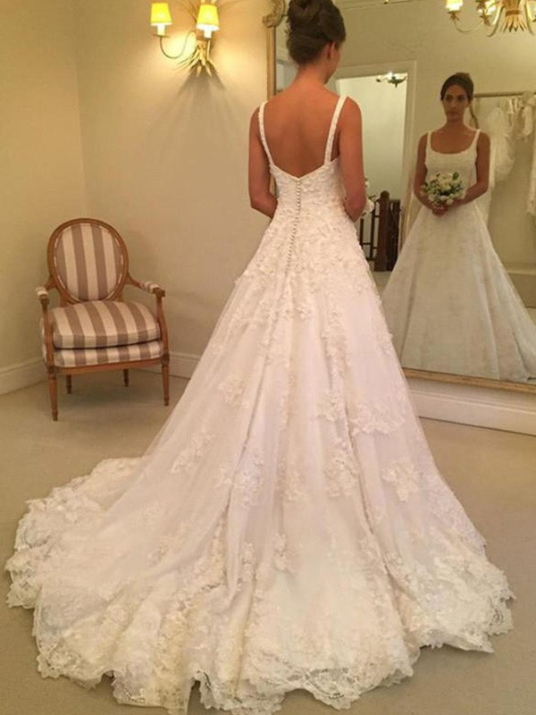 A-Line/Princess Square Lace Sleeveless Court Train Wedding Dresses