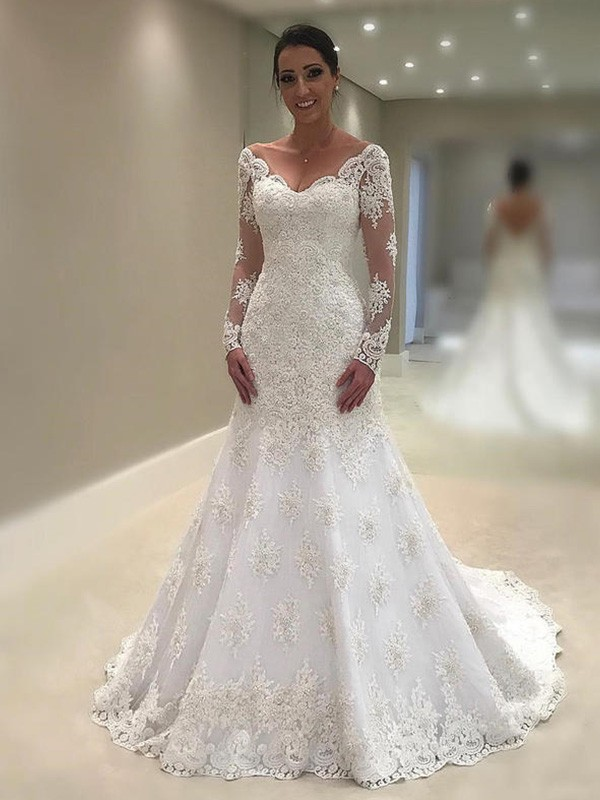 Trumpet/Mermaid V-neck Lace Long Sleeves Court Train Wedding Dresses