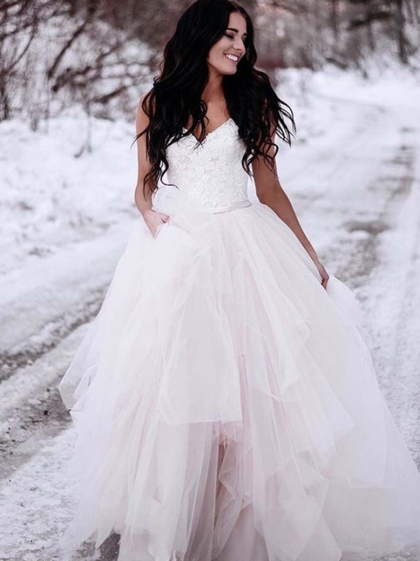 A-Line/Princess V-neck Tulle Sleeveless Floor-Length Wedding Dresses