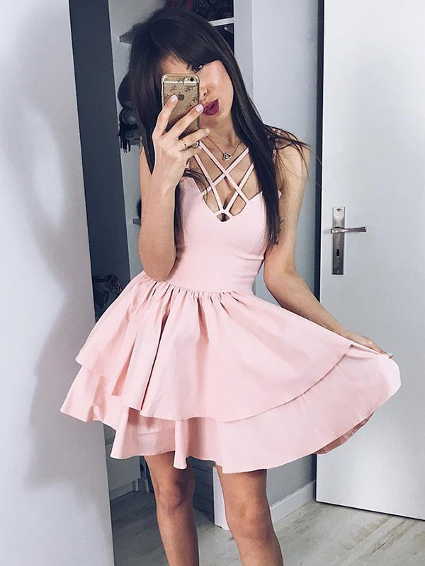 A-Line/Princess Spaghetti Straps Satin Sleeveless Short/Mini Dresses