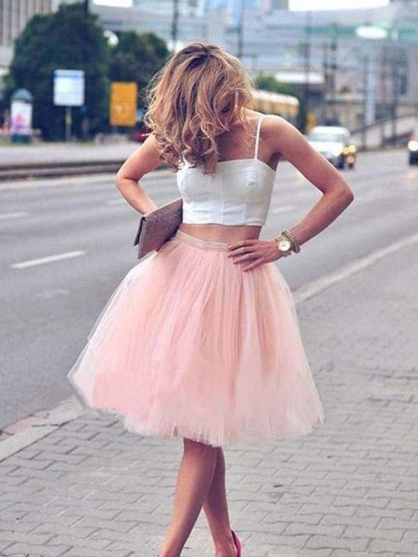 A-Line/Princess Spaghetti Straps Tulle Sleeveless Knee-Length Two Piece Dresses