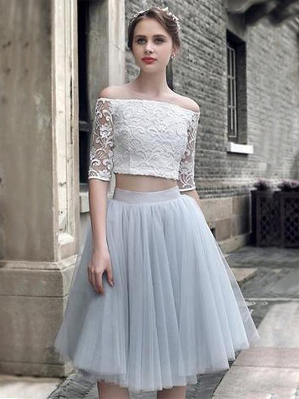 A-Line/Princess Off-the-Shoulder Tulle 1/2 Sleeves Knee-Length Two Piece Dresses