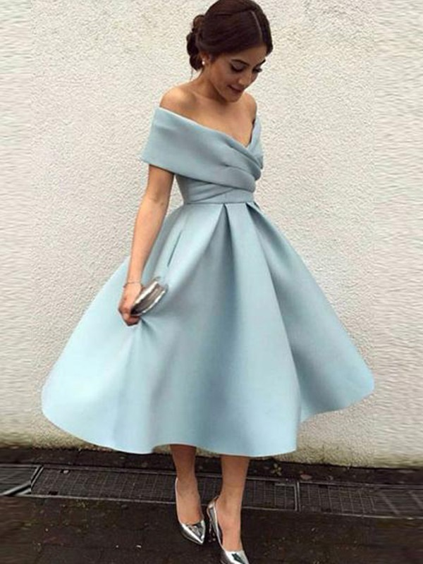 A-Line/Princess Off-the-Shoulder Satin Sleeveless Tea-Length Dresses