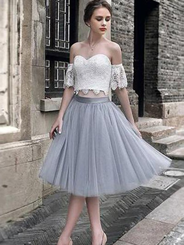 A-Line/Princess Sweetheart Tulle Sleeveless Tea-Length Two Piece Dresses
