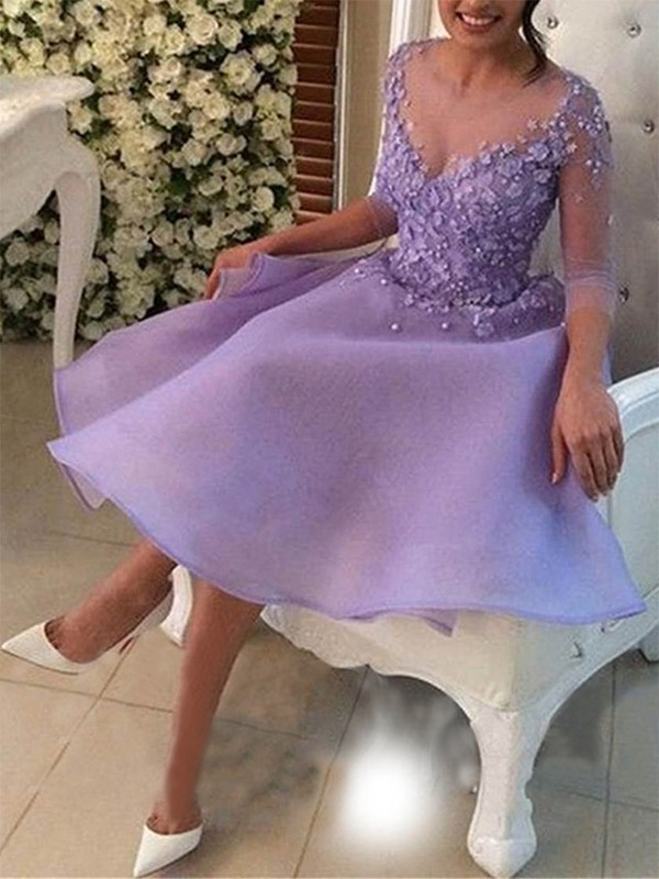 A-Line/Princess V-neck Organza 3/4 Sleeves Knee-Length Dresses
