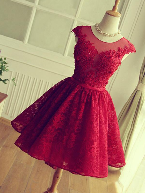 A-Line/Princess Jewel Lace Sleeveless Short/Mini Dresses