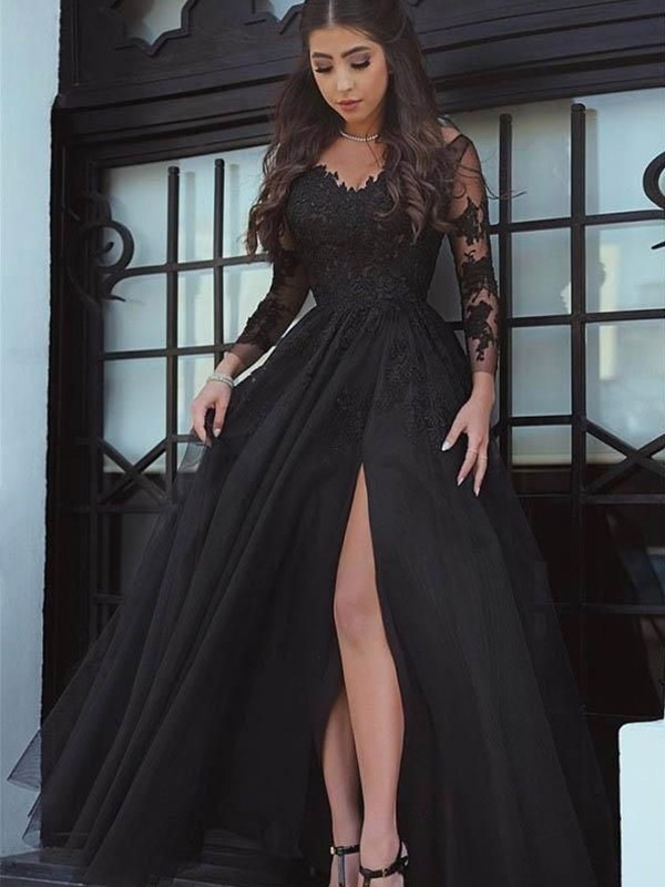 d1504705bdd Ball Gown Off-the-Shoulder Tulle Long Sleeves Floor-Length Dresses