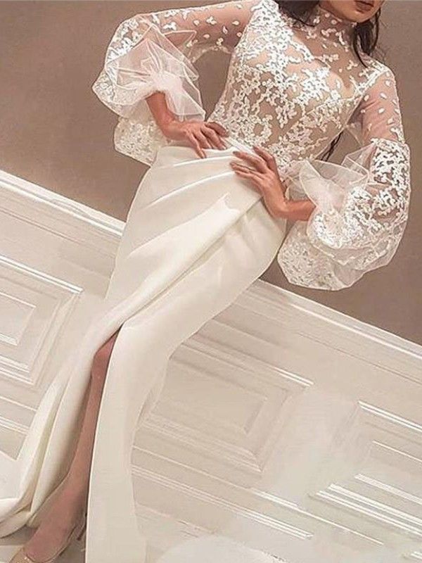 Trumpet/Mermaid High Neck Satin Long Sleeves Sweep/Brush Train Dresses