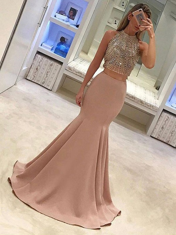 Trumpet/Mermaid High Neck Satin Sleeveless Sweep/Brush Train Two Piece Dresses
