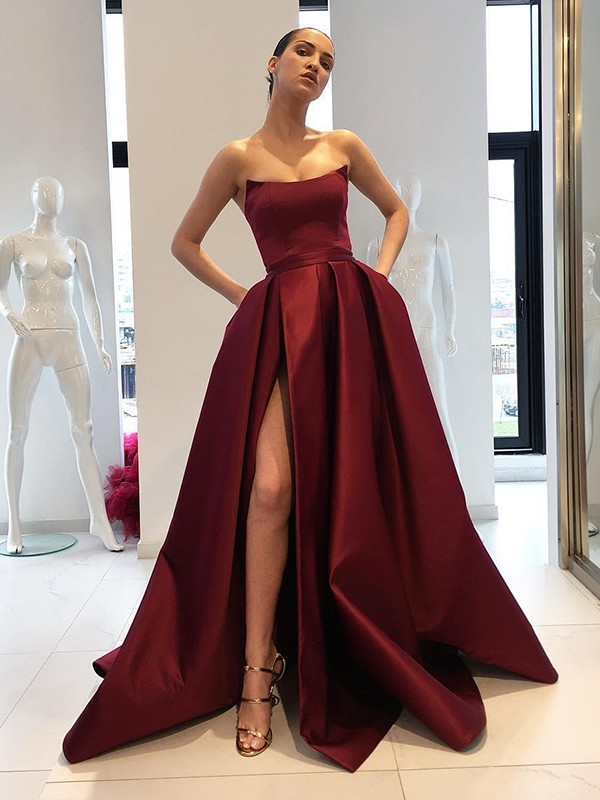 Ball Gown Strapless Satin Sleeveless Sweep/Brush Train Dresses