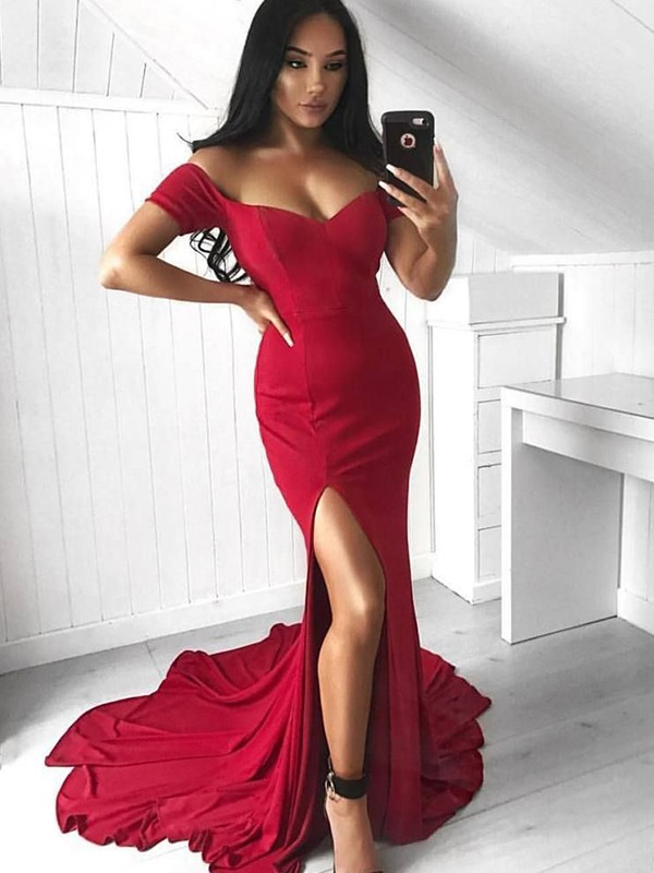 Trumpet/Mermaid Off-the-Shoulder Elastic Woven Satin Sleeveless Court Train Dresses
