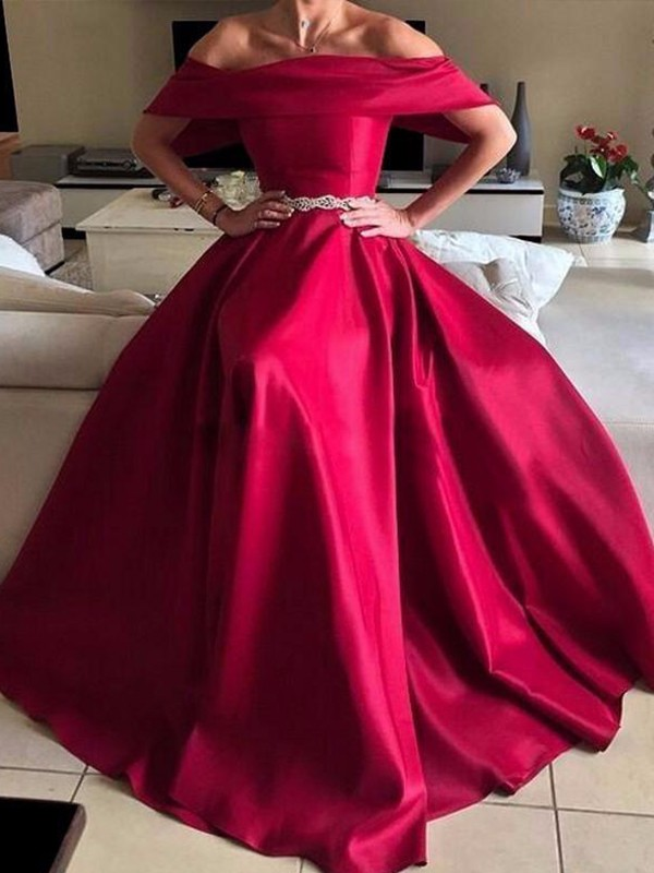 A-Line/Princess Off-the-Shoulder Satin Sleeveless Floor-Length Dresses