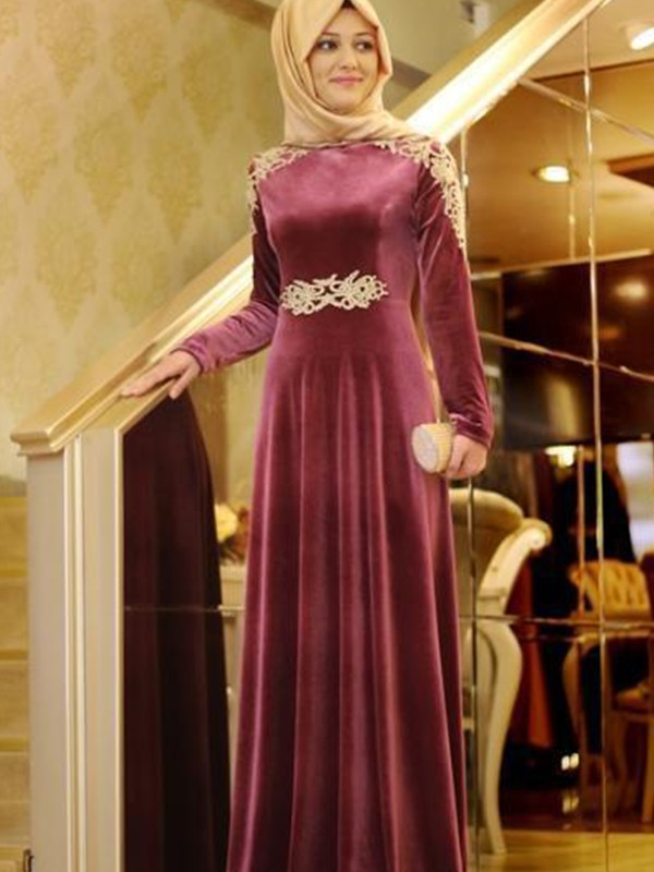 A-Line/Princess Scoop Velvet Long Sleeves Floor-Length Dresses
