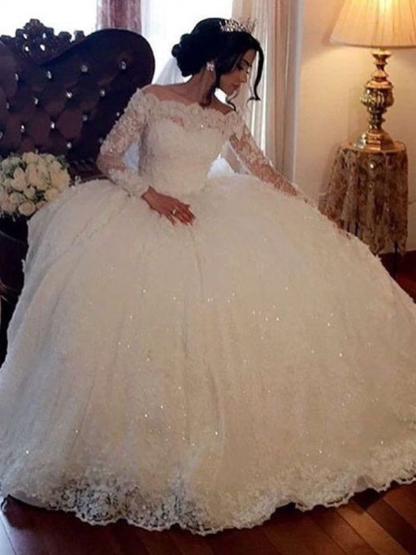 Ball Gown Bateau Lace Long Sleeves Floor-Length Wedding Dresses