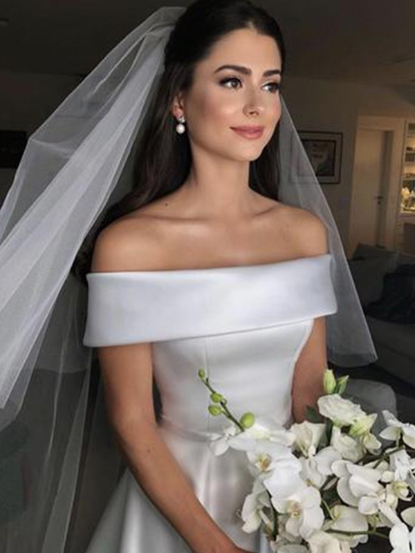 A-Line/Princess Off-the-Shoulder Satin Sleeveless Sweep/Brush Train Wedding Dresses