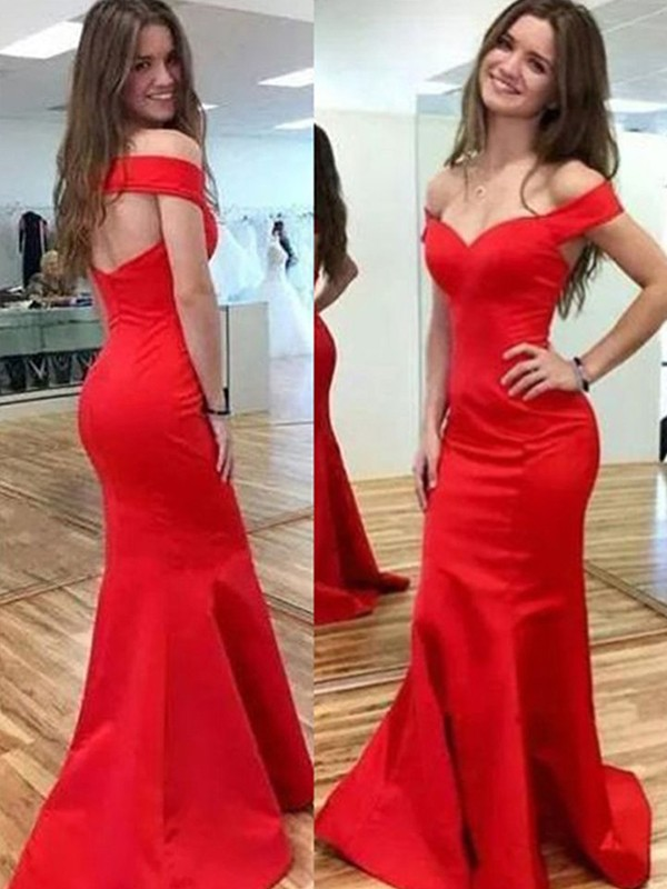 Trumpet/Mermaid Off-the-Shoulder Satin Sleeveless Floor-Length Dresses