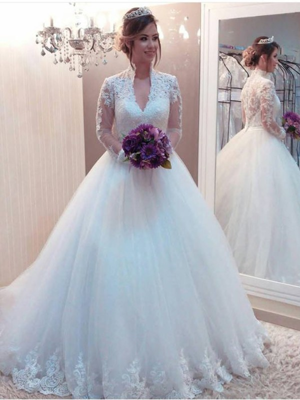 Ball Gown High Neck Tulle Long Sleeves Sweep/Brush Train Wedding Dresses