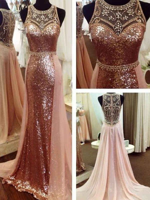 A-Line/Princess Scoop Sequins Sleeveless Sweep/Brush Train Dresses