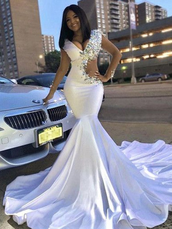 Trumpet/Mermaid V-neck Satin Long Sleeves Court Train Dresses