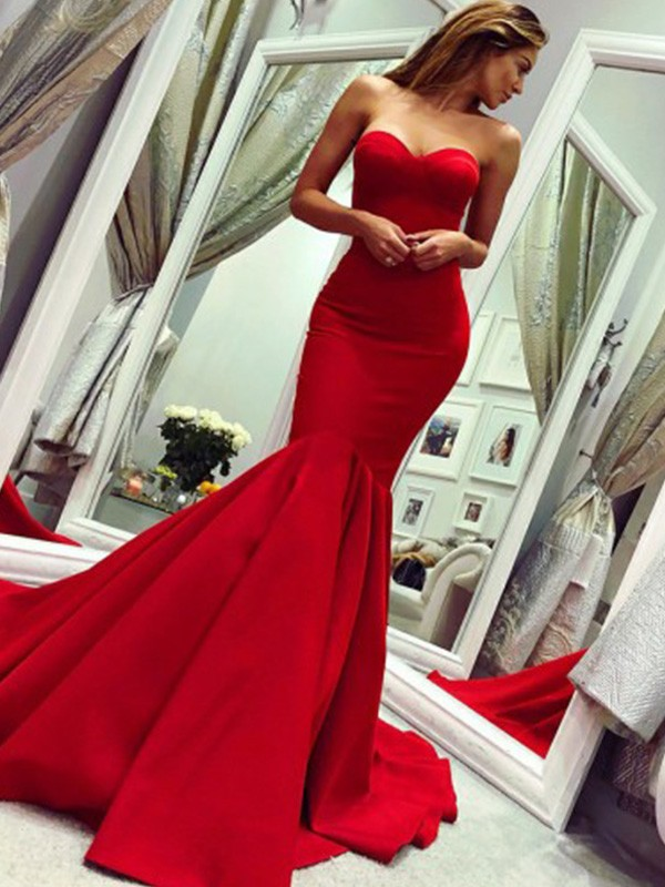 Trumpet/Mermaid Strapless Satin Sleeveless Court Train Dresses