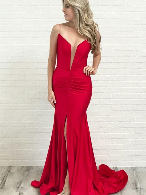 A-Line/Princess Spaghetti Straps Satin Sleeveless Court Train Dresses