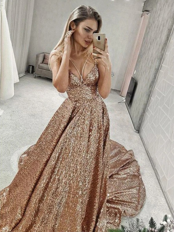 A-Line/Princess Spaghetti Straps Sequins Sleeveless Court Train Dresses