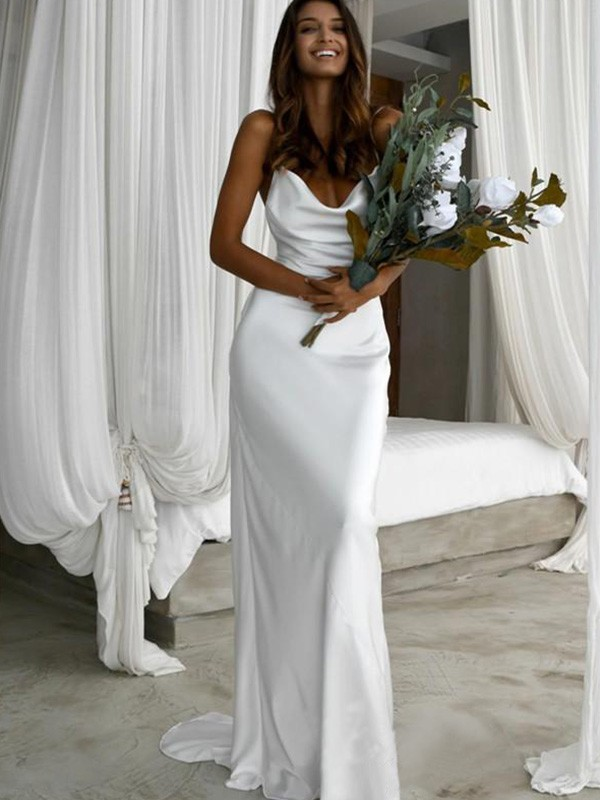 Sheath/Column Spaghetti Straps Silk like Satin Sleeveless Sweep/Brush Train Wedding Dresses