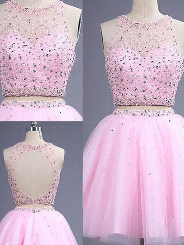 A-Line/Princess Scoop Tulle Sleeveless Short/Mini Two Piece Dresses