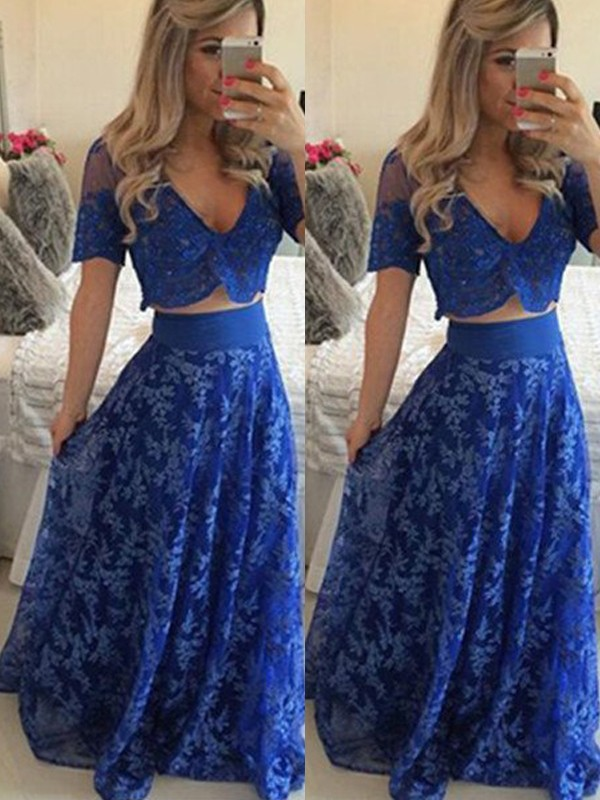 A-Line/Princess V-neck Lace Short Sleeves Floor-Length Two Piece Dresses