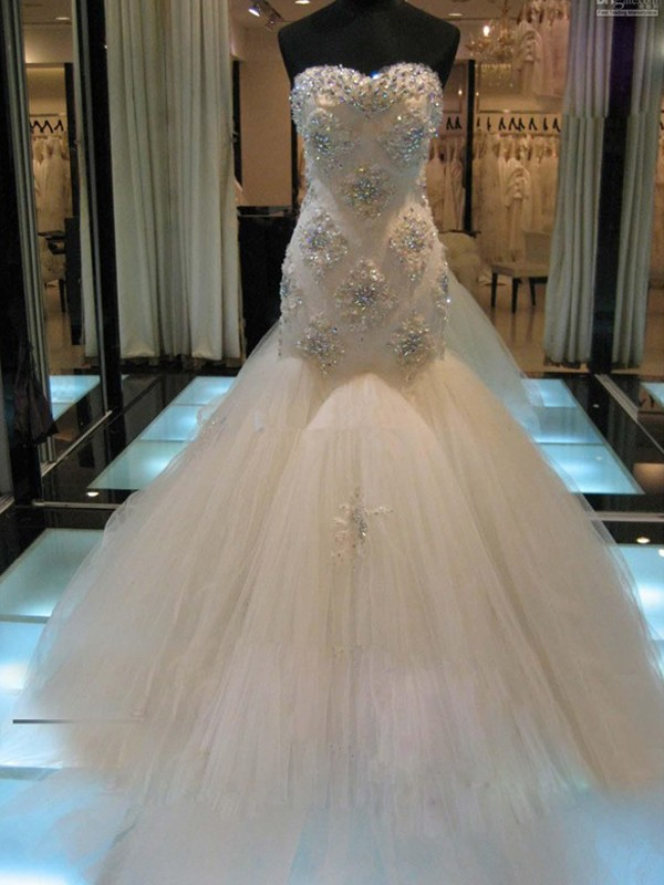 Trumpet/Mermaid Sweetheart Tulle Sleeveless Chapel Train Wedding Dresses